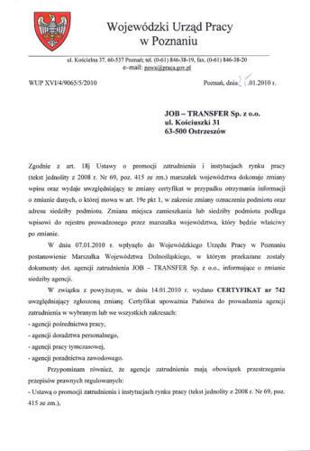 Certyfikat Agencji Zatrudnienia cz.1