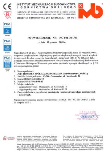 Certyfikat IMBiGS