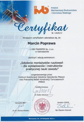 Certyfikat z I edycji seminarium nt. Szkolenia Montażystów Rusztowań IMBiGS