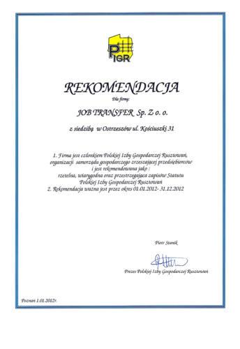 Rekomendacja PIGR 2012