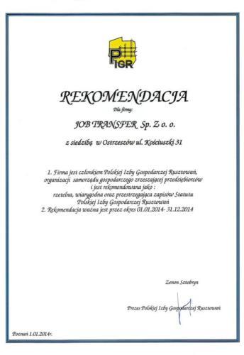 Rekomendacja PIGR 2014