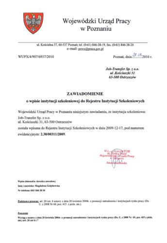 Wpis do Rejestru Instytucji Szkoleniowych cz. 1